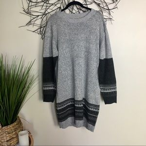 Large Charlie Paige sweater dress gray argyle